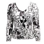 Gourmet Popcorn - Collarless Cardigan - White-Black-Grey Flowers