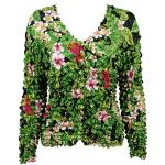 Gourmet Popcorn - Collarless Cardigan - Tropical Floral - Green