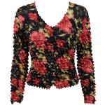 Gourmet Popcorn - Collarless Cardigan - Coral Blossoms on Black