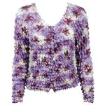 Gourmet Popcorn - Collarless Cardigan - Multi Purple Flowers