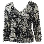 Gourmet Popcorn - Collarless Cardigan - Abstract Designs Black-Ivory