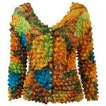 Gourmet Popcorn - Collarless Cardigan - Leaves Turquoise-Green-Copper