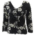 Gourmet Popcorn - Collarless Cardigan - White Daisies on Black