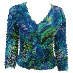 Gourmet Popcorn - Collarless Cardigan - Abstract Zebra Blue-Green