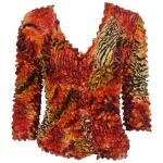 Gourmet Popcorn - Collarless Cardigan - Abstract Zebra Red-Orange