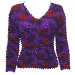 Red Hatters Selections - Popcorn - Gourmet Cardigan Collarless Purple Garden