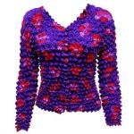 Red Hatters Selections - Popcorn - Gourmet Cardigan Collarless Red Hats on Purple