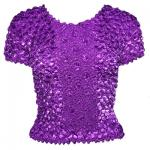 Red Hatters Selections - Popcorn - Gourmet Coin Fishscale Short Sleeve Purple