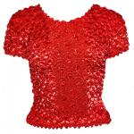 Red Hatters Selections - Popcorn - Gourmet Coin Fishscale Short Sleeve Red