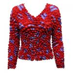Red Hatters Selections - Popcorn - Gourmet Cardigan Collarless Purple Hats on Red