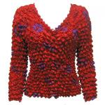 Red Hatters Selections - Popcorn - Gourmet Cardigan Collarless Red Garden