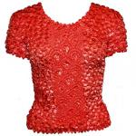 Red Hatters Selections - Popcorn - Gourmet Coin Fishscale Short Sleeve Scarlet