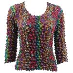 Silky Touch Popcorn - Three Quarter Sleeve - Multi Dots - Jewel Tones
