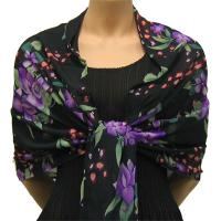 Georgette Shawls -  Black-Purple Floral