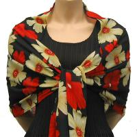 Georgette Shawls -  Hibiscus Red-Tan