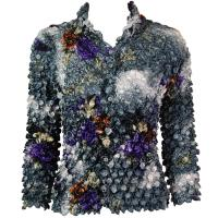 Coin - Cardigan - Floral - Charcoal-Purple