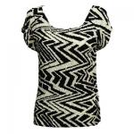Magic Crush Satin - Cap Sleeve -  Block Print Black-Ivory