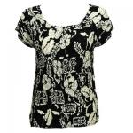 Magic Crush Satin - Cap Sleeve -  Ivory Floral on Black