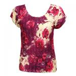 Magic Crush Satin - Cap Sleeve -  Rose Floral - Berry