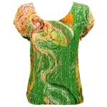 Magic Crush Satin - Cap Sleeve -  Swirl Green-Gold