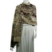Pashmina Style Shawls - Woven Prints - Flowers and Grapes - Brown-Beige
