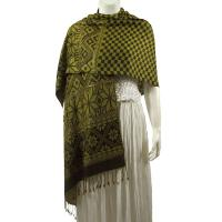 Pashmina Style Shawls - Woven Prints - Metallic Accent - Checkered with Print Border - Green