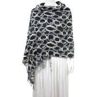 Pashmina Style Shawls - Woven Prints - Circle Chains - Black