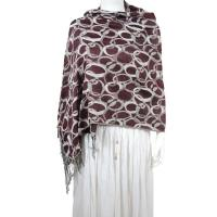 Pashmina Style Shawls - Woven Prints - Circle Chains - Brown