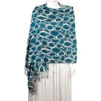 Pashmina Style Shawls - Woven Prints - Circle Chains - Seagreen