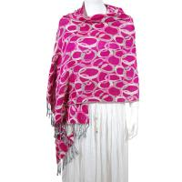 Pashmina Style Shawls - Woven Prints - Circle Chains - Magenta