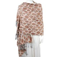 Pashmina Style Shawls - Woven Prints - Circle Chains - Taupe