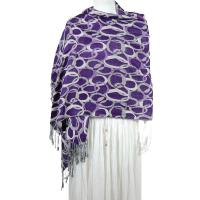 Pashmina Style Shawls - Woven Prints - Circle Chains - Plum