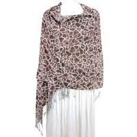 Pashmina Style Shawls - Woven Prints - Cheetah - Brown-White