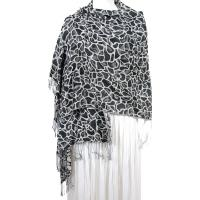 Pashmina Style Shawls - Woven Prints - Cheetah - Black-White