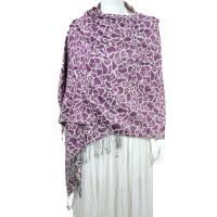 Pashmina Style Shawls - Woven Prints - Cheetah - Grape-White