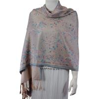 Pashmina Style Shawls - Woven Prints - Flowers and Dots - Beige-Turquoise