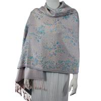 Pashmina Style Shawls - Woven Prints - Flowers and Dots - Peach-Turquoise