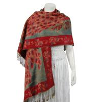 Pashmina Style Shawls - Woven Prints - Metallic Accent - Peacock - Cranberry/Seagreen