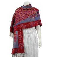 Pashmina Style Shawls - Woven Prints - Metallic Accent - Peacock - Denim/Wine