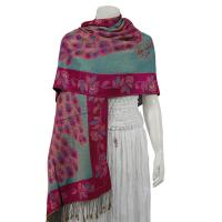 Pashmina Style Shawls - Woven Prints - Metallic Accent - Peacock - Teal/Raspberry