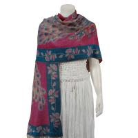 Pashmina Style Shawls - Woven Prints - Metallic Accent - Peacock - Teal Blue/Pink