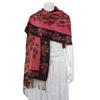 Pashmina Style Shawls - Woven Prints - Metallic Accent - Peacock - Magenta/Black