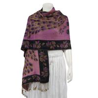 Pashmina Style Shawls - Woven Prints - Metallic Accent - Peacock - Purple/Black