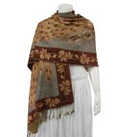 Pashmina Style Shawls - Woven Prints - Metallic Accent - Peacock - Taupe/Brown