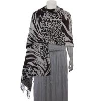 Pashmina Style Shawls - Woven Prints - Abstract Animal - Natural/Black/Brown