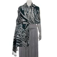 Pashmina Style Shawls - Woven Prints - Abstract Animal - Grey/Black/Seagreen