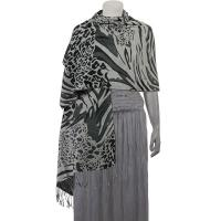 Pashmina Style Shawls - Woven Prints - Abstract Animal - Grey/Black/Charcoal