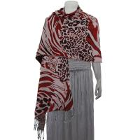Pashmina Style Shawls - Woven Prints - Abstract Animal - Natural/Merlot/Wine