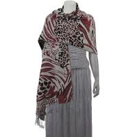 Pashmina Style Shawls - Woven Prints - Abstract Animal - Natural/Wine/Mauve
