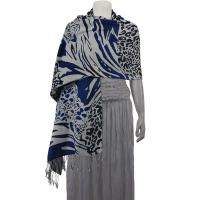 Pashmina Style Shawls - Woven Prints - Abstract Animal - Grey/Black/Royal